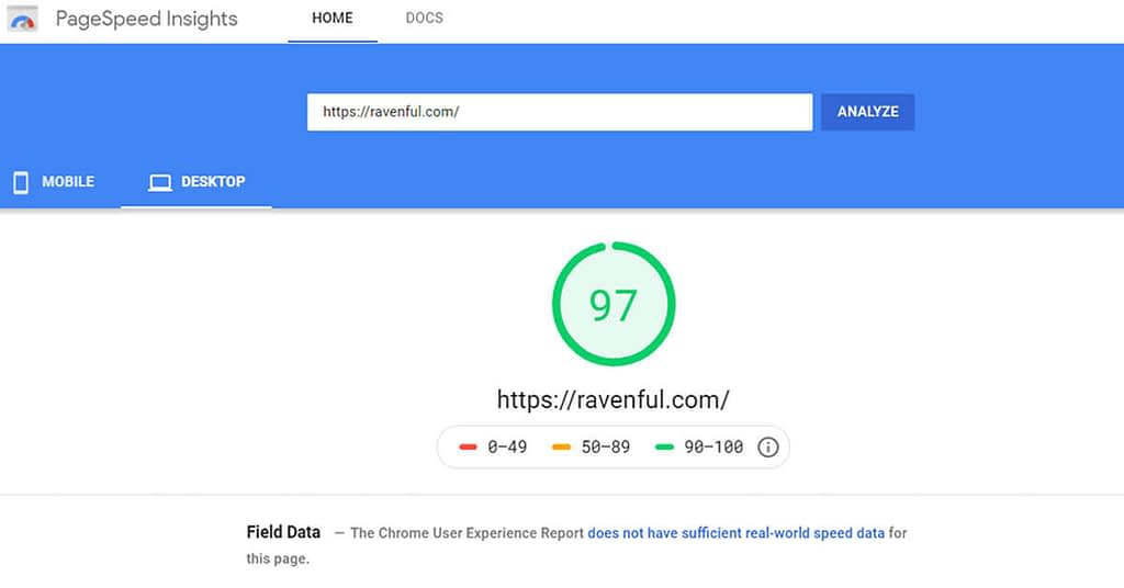 page speed insights for ravenful